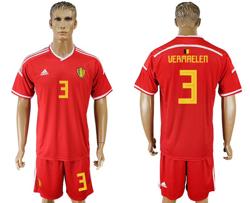 Men 2018 World Cup National Belgium home 3 red soccer jersey