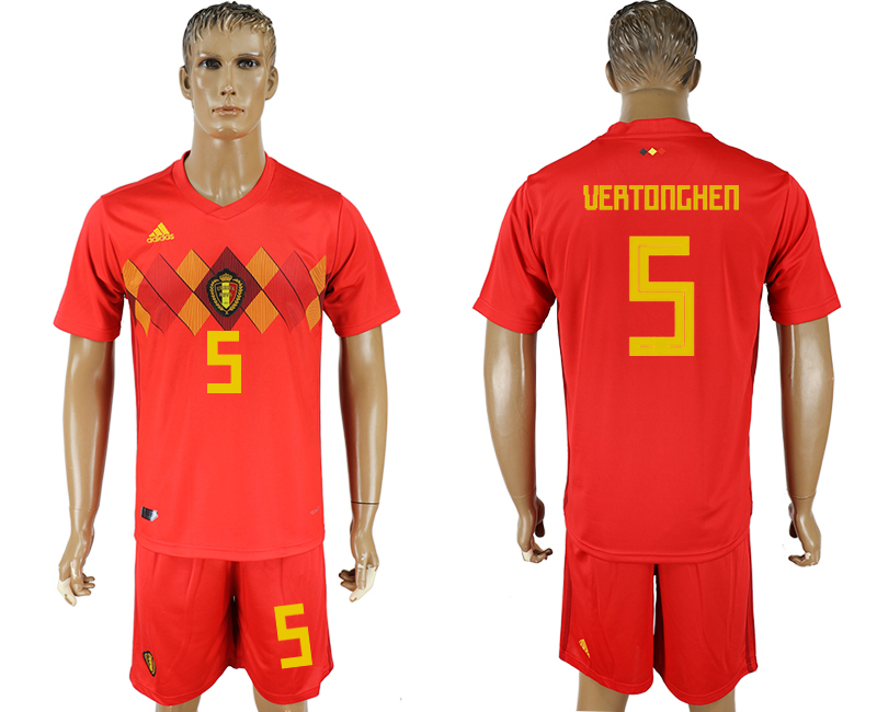 Men 2018 World Cup National Belgium home 5 red soccer jersey