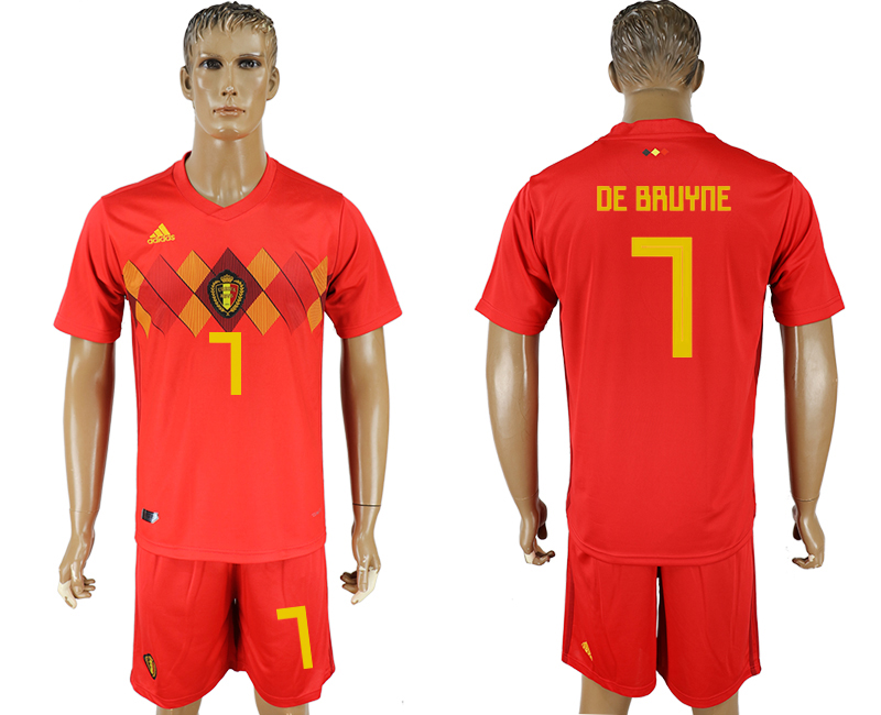 Men 2018 World Cup National Belgium home 7 red soccer jersey