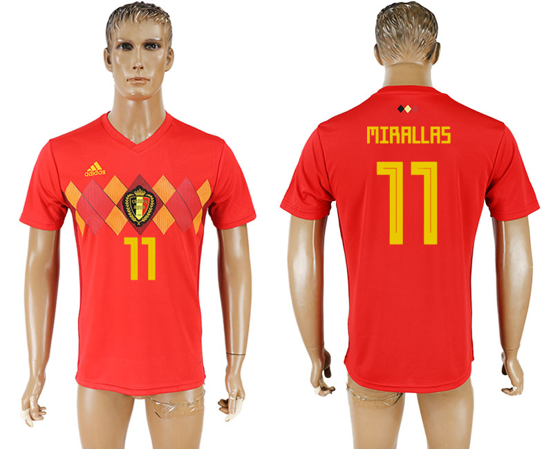 Men 2018 World Cup National Belgium home aaa version 11 red soccer jersey