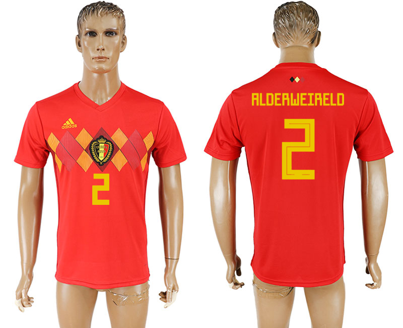 Men 2018 World Cup National Belgium home aaa version 2 red soccer jersey