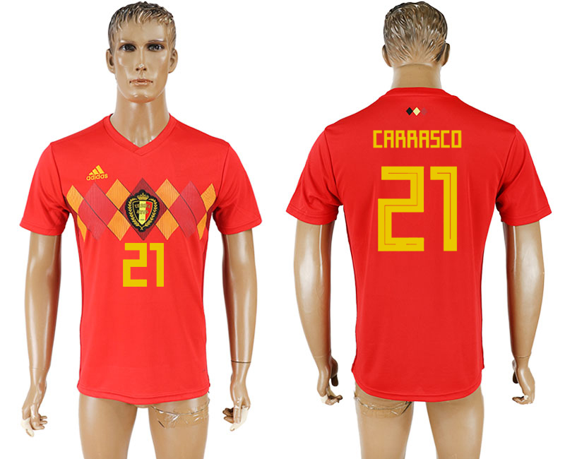 Men 2018 World Cup National Belgium home aaa version 21 red soccer jersey