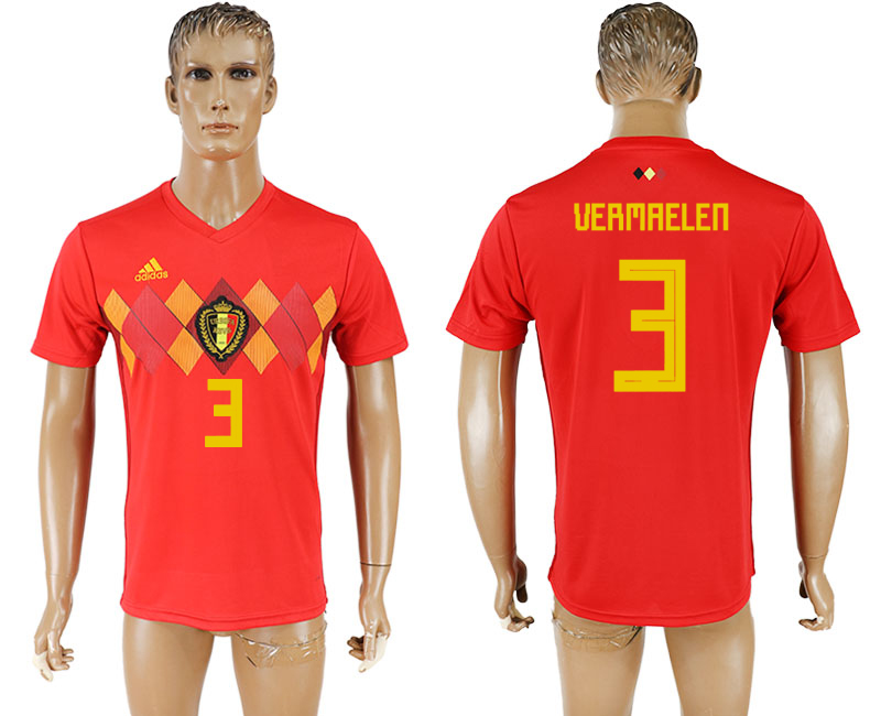 Men 2018 World Cup National Belgium home aaa version 3 red soccer jersey