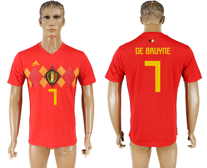 Men 2018 World Cup National Belgium home aaa version 7 red soccer jersey