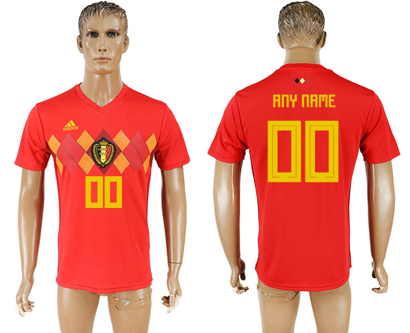 Men 2018 World Cup National Belgium home aaa version customized red soccer jersey