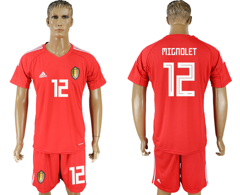 Men 2018 World Cup National Belgium red goalkeeper 12 soccer jersey