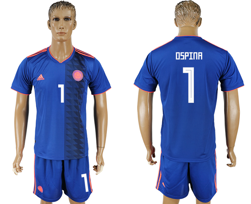 Men 2018 World Cup National Colombia away 1 blue soccer jersey