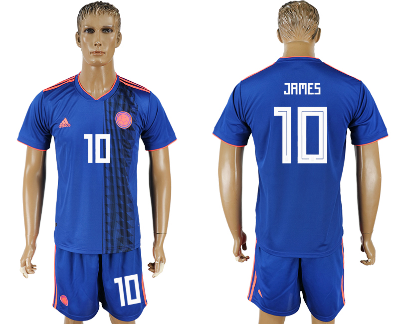 Men 2018 World Cup National Colombia away 10 blue soccer jersey