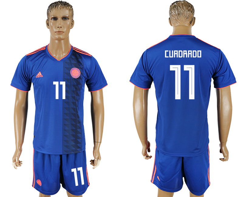 Men 2018 World Cup National Colombia away 11 blue soccer jersey