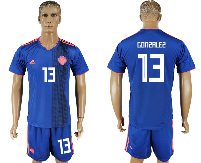 Men 2018 World Cup National Colombia away 13 blue soccer jersey