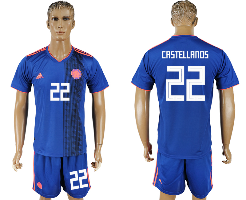 Men 2018 World Cup National Colombia away 22 blue soccer jersey