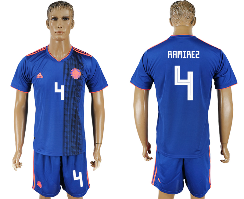 Men 2018 World Cup National Colombia away 4 blue soccer jersey