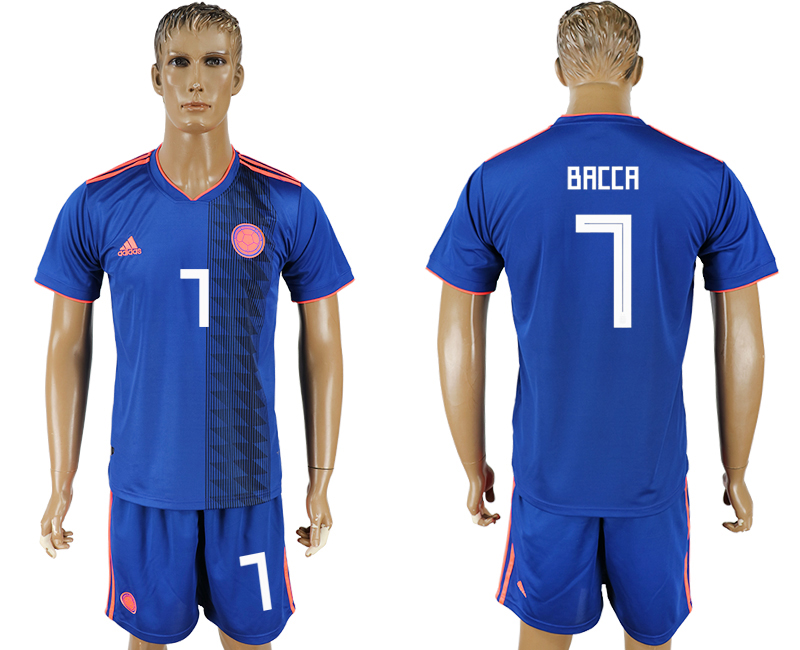 Men 2018 World Cup National Colombia away 7 blue soccer jersey