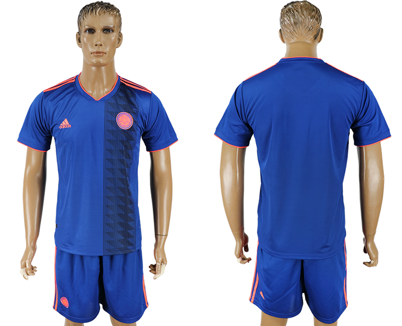 Men 2018 World Cup National Colombia away blank blue soccer jersey