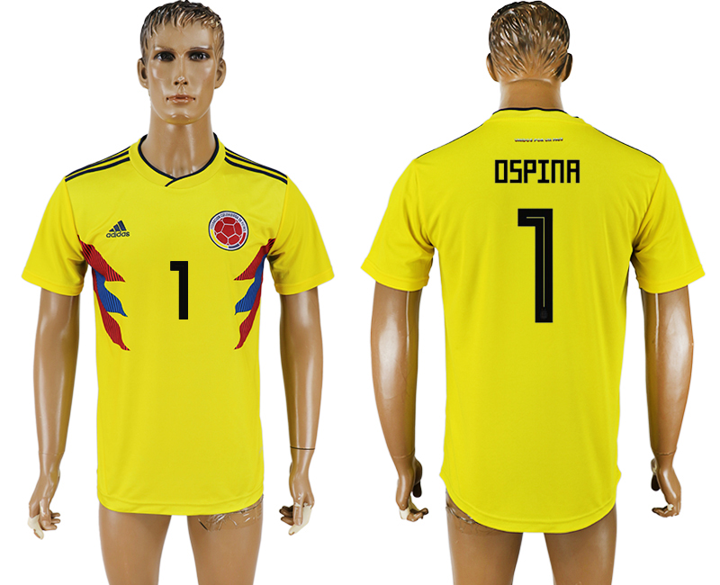 Men 2018 World Cup National Colombia home aaa version 1 yellow soccer jersey