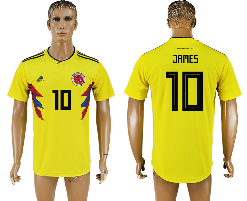 Men 2018 World Cup National Colombia home aaa version 10 yellow soccer jersey