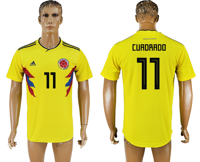 Men 2018 World Cup National Colombia home aaa version 11 yellow soccer jersey