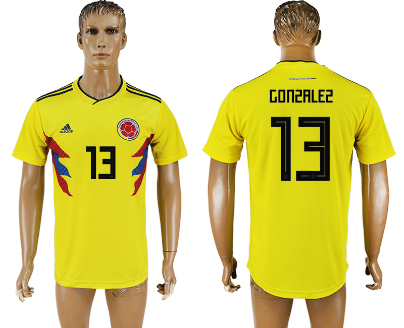 Men 2018 World Cup National Colombia home aaa version 13 yellow soccer jersey