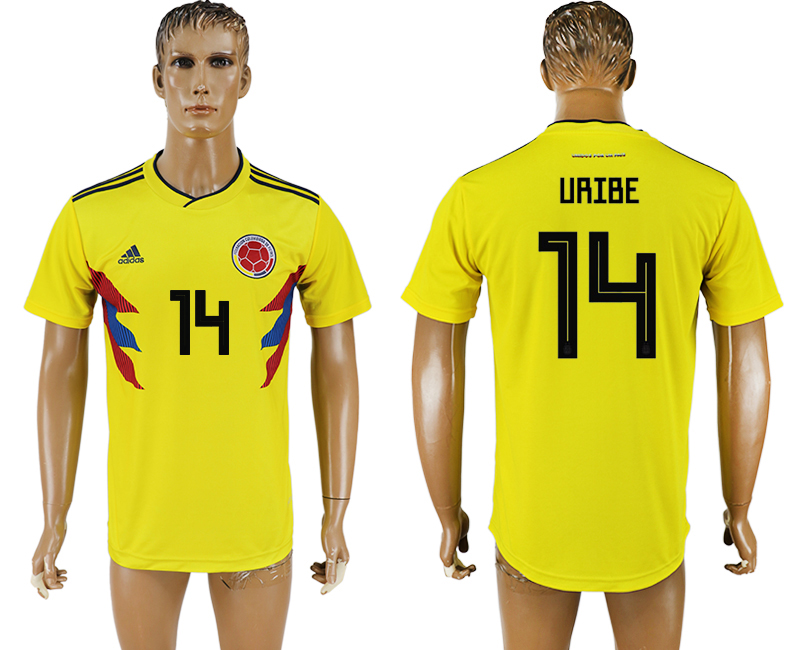 Men 2018 World Cup National Colombia home aaa version 14 yellow soccer jersey