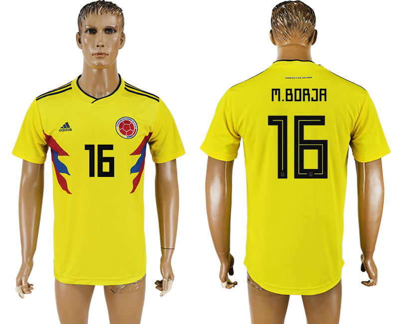 Men 2018 World Cup National Colombia home aaa version 16 yellow soccer jersey