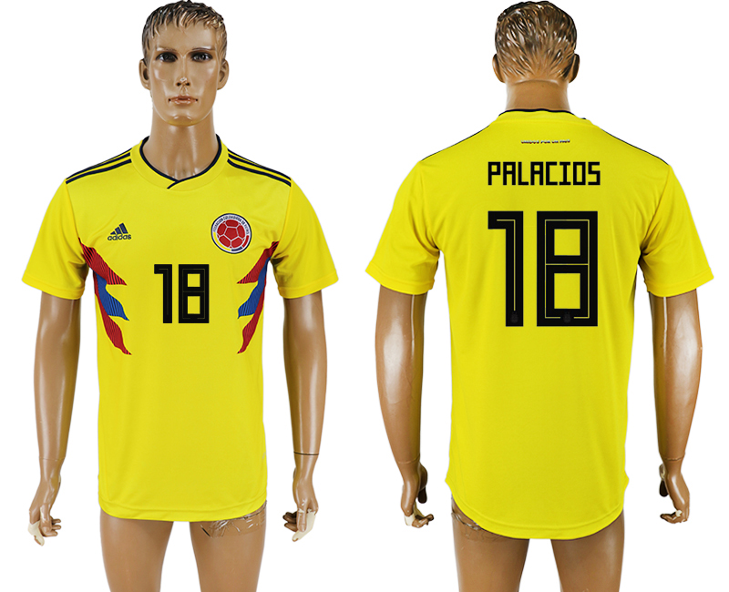 Men 2018 World Cup National Colombia home aaa version 18 yellow soccer jersey