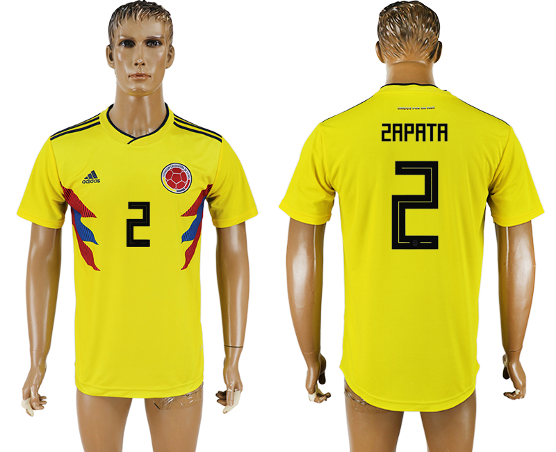Men 2018 World Cup National Colombia home aaa version 2 yellow soccer jersey