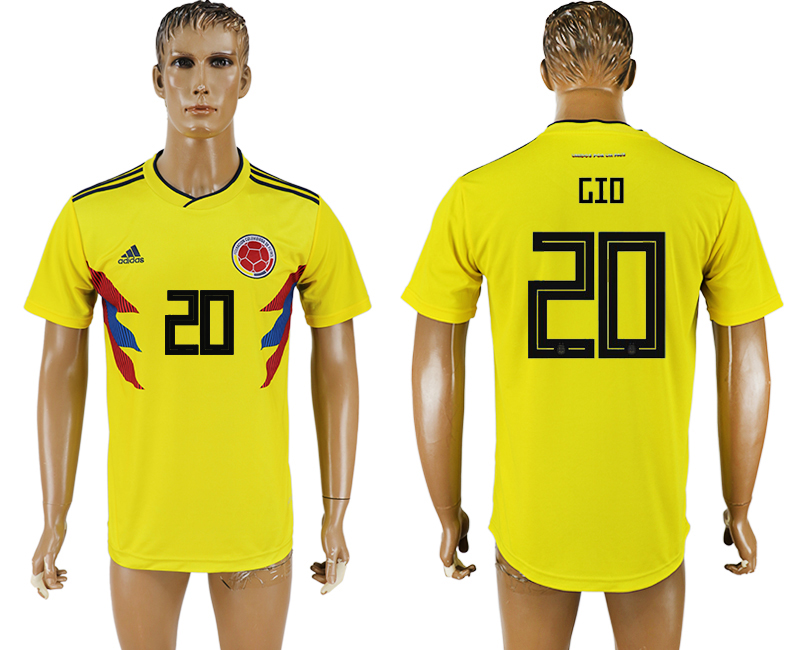 Men 2018 World Cup National Colombia home aaa version 20 yellow soccer jersey