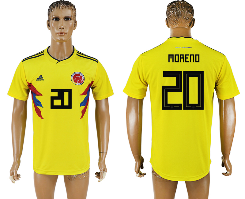 Men 2018 World Cup National Colombia home aaa version 20 yellow soccer jersey1