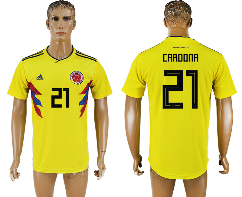 Men 2018 World Cup National Colombia home aaa version 21 yellow soccer jersey