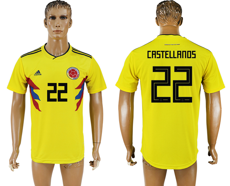 Men 2018 World Cup National Colombia home aaa version 22 yellow soccer jersey