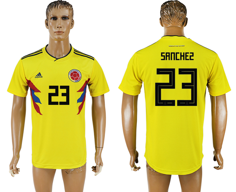 Men 2018 World Cup National Colombia home aaa version 23 yellow soccer jersey