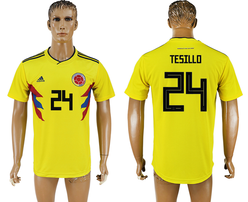 Men 2018 World Cup National Colombia home aaa version 24 yellow soccer jersey