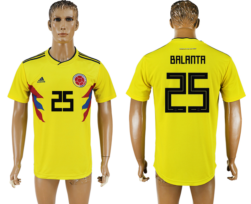 Men 2018 World Cup National Colombia home aaa version 25 yellow soccer jersey