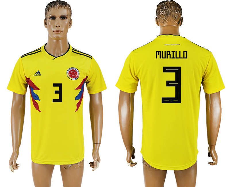 Men 2018 World Cup National Colombia home aaa version 3 yellow soccer jersey