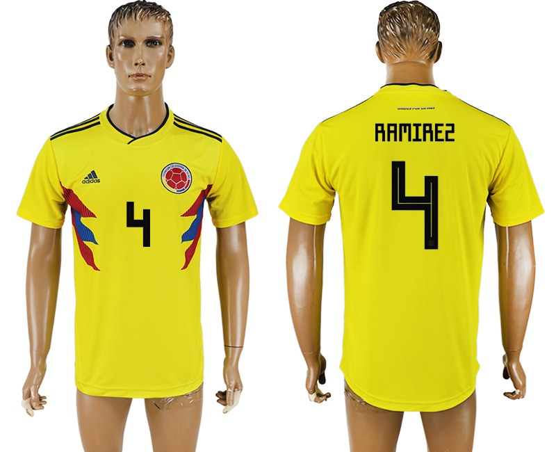 Men 2018 World Cup National Colombia home aaa version 4 yellow soccer jersey