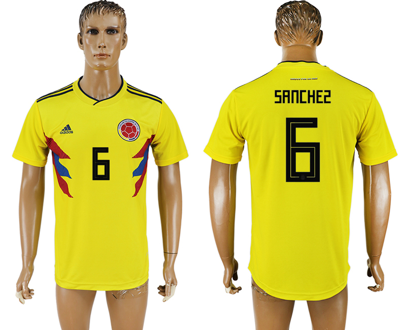 Men 2018 World Cup National Colombia home aaa version 6 yellow soccer jersey