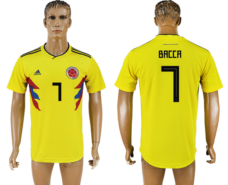Men 2018 World Cup National Colombia home aaa version 7 yellow soccer jersey