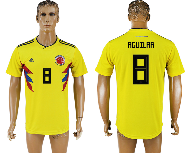 Men 2018 World Cup National Colombia home aaa version 8 yellow soccer jersey