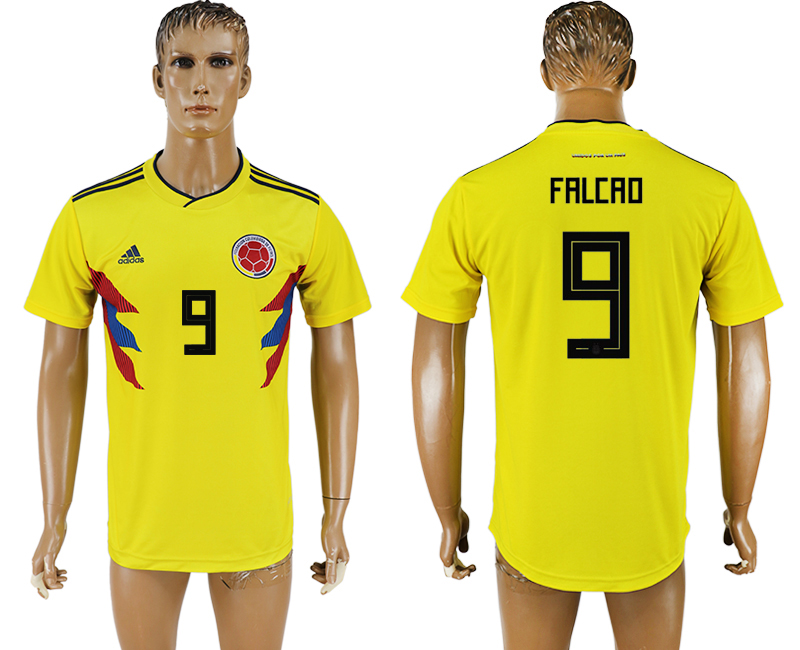 Men 2018 World Cup National Colombia home aaa version 9 yellow soccer jersey