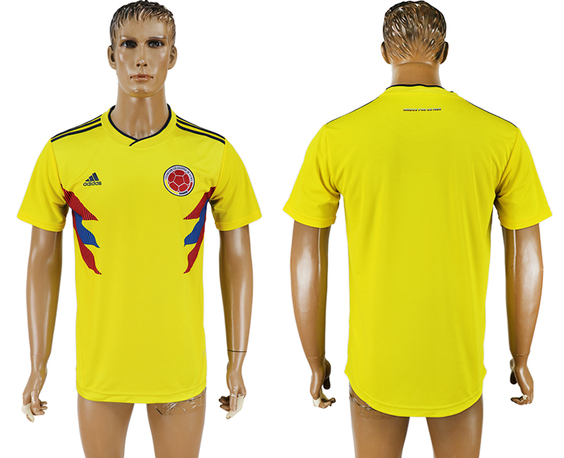 Men 2018 World Cup National Colombia home aaa version blank yellow soccer jersey