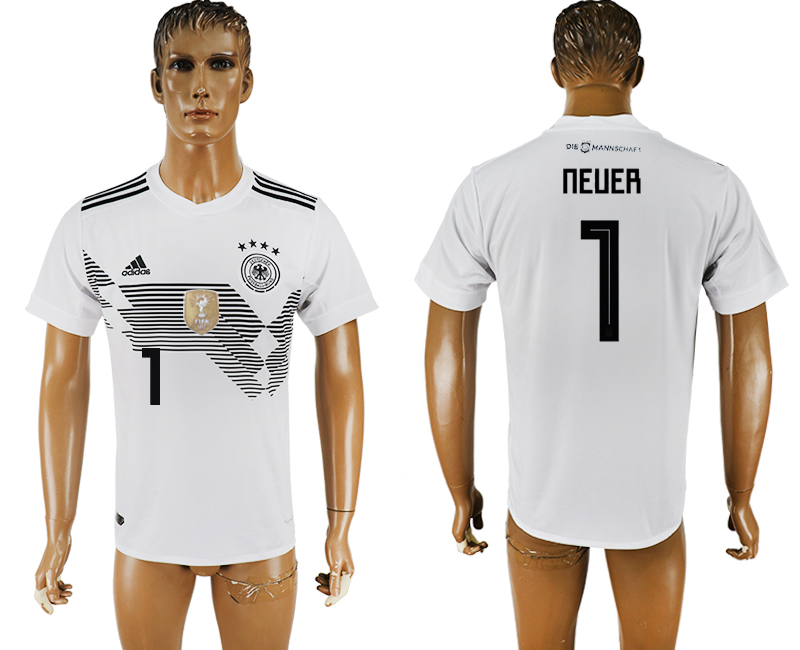 Men 2018 World Cup National Germany home aaa version 1 white soccer jersey