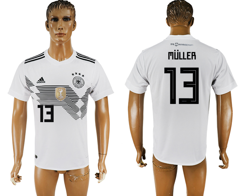 Men 2018 World Cup National Germany home aaa version 13 white soccer jersey