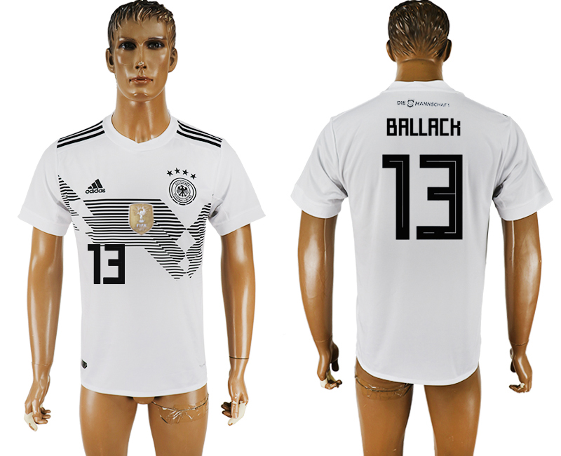 Men 2018 World Cup National Germany home aaa version 13 white soccer jersey1