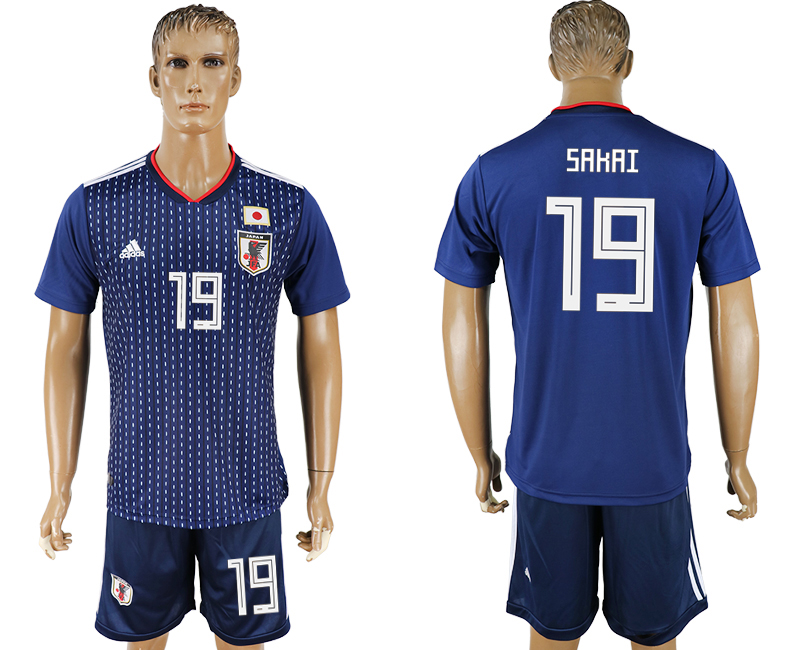 Men 2018 World Cup National Japan home 19 blue soccer jersey