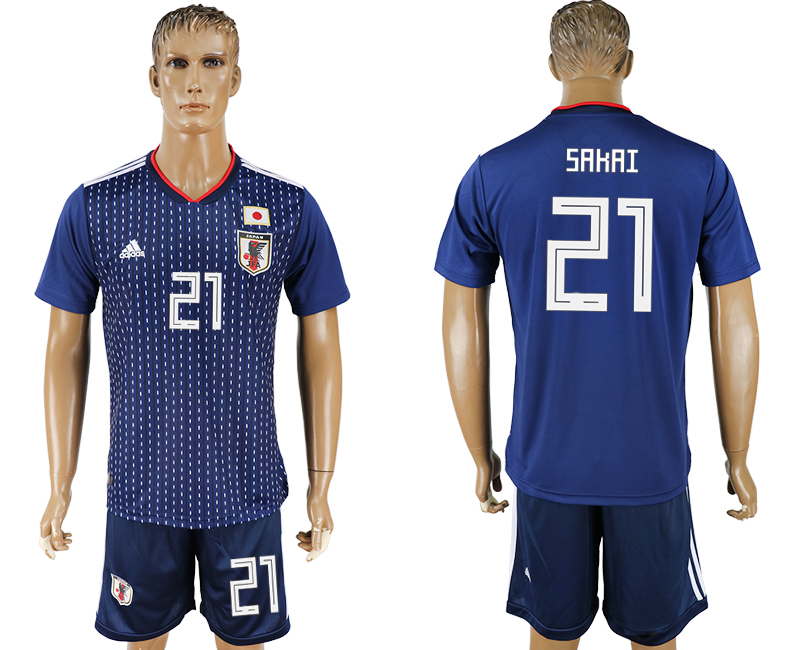 Men 2018 World Cup National Japan home 21 blue soccer jersey