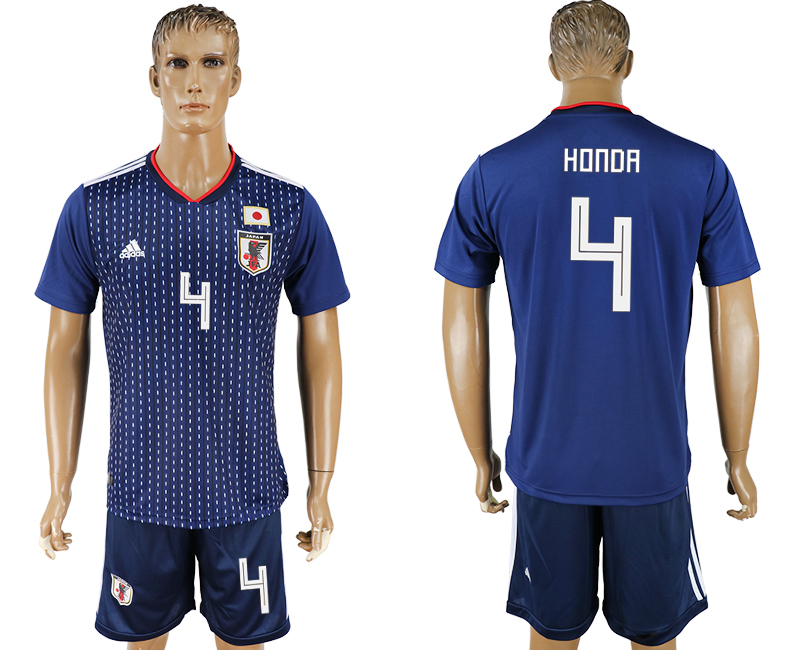 Men 2018 World Cup National Japan home 4 blue soccer jersey