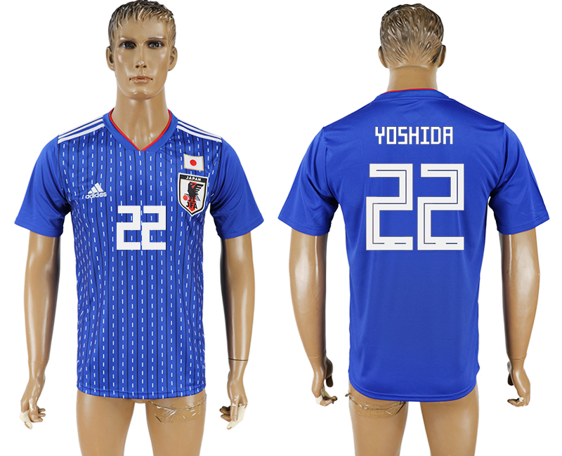 Men 2018 World Cup National Japan home aaa version 22 blue soccer jersey