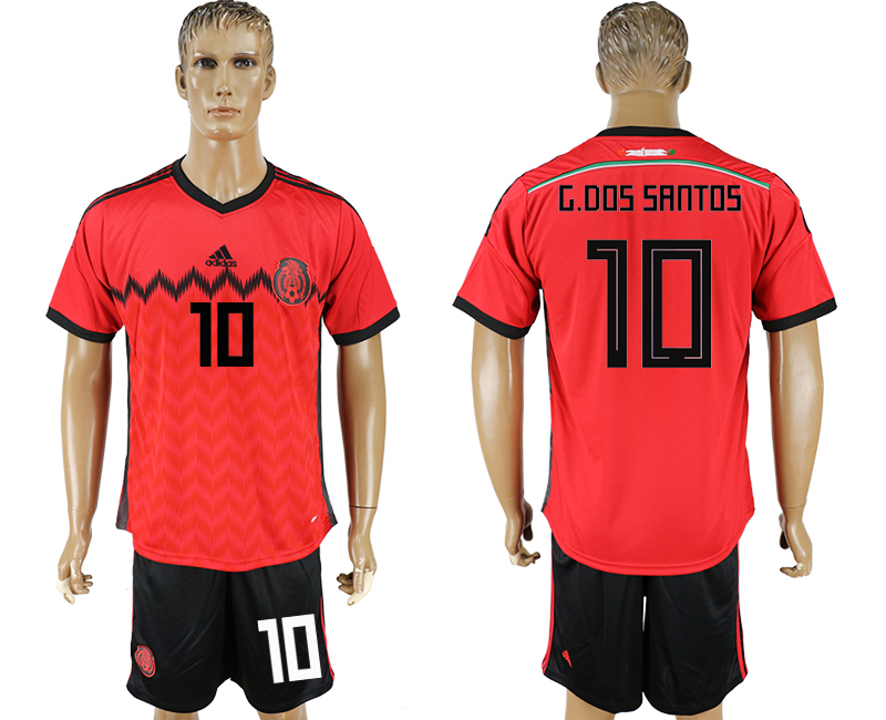 Men 2018 World Cup National Mexico away 10 red soccer jersey
