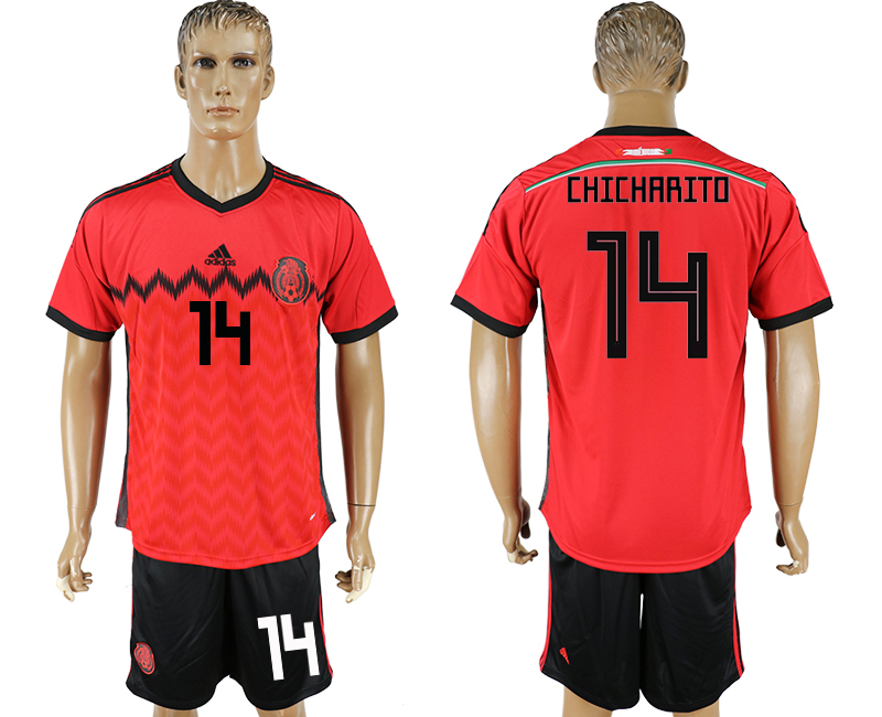 Men 2018 World Cup National Mexico away 14 red soccer jersey1
