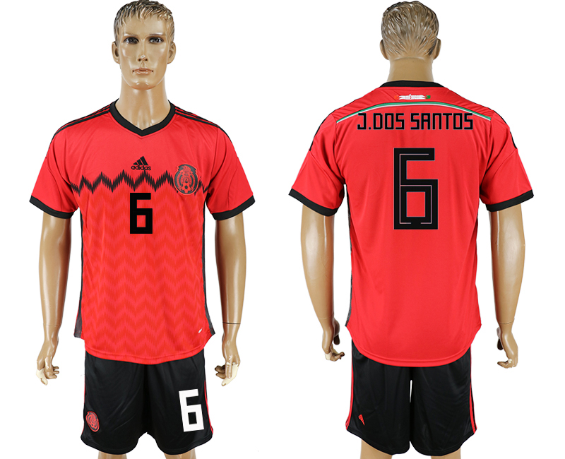 Men 2018 World Cup National Mexico away 6 red soccer jersey